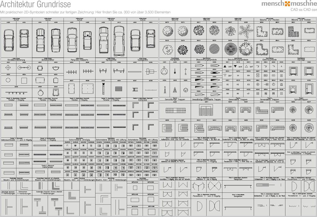 Symbolbibliothek Architektur Grundrisse - über 12.000 Symbole